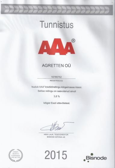 Agretten AAA, tunnustus